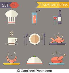 appartamento, set, ristorante, icone, simboli, vettore, retro