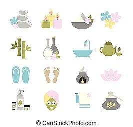 appartamento, set, spa., icone