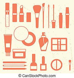 appartamento, set, style., cosmetica, icone