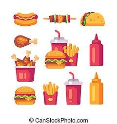 appartamento, set, tazza, cibo, cane, icons., frigge, caldo, gambe, digiuno, soda, hamburger pollo
