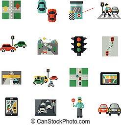 appartamento, set, traffico, icone