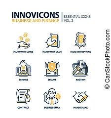 appartamento, set, ufficio affari, web, moderno, icone, pictograms., elementi, disegno, magro, infographics, oggetti, linea, finanza