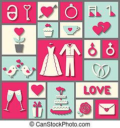 appartamento, set, valentine, icone, o, vettore, giorno matrimonio