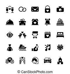 appartamento, set, vettore, matrimonio, style., icona