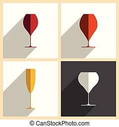 appartamento, set, wineglasses, icone, illustrazione, vettore, shadow.