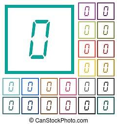 appartamento, sette, icone, colorare, segmento, numero, quadrante, zero, digitale, cornici, tipo