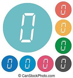 appartamento, sette, icone, segmento, numero zero, digitale, tipo, rotondo