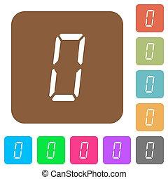 appartamento, sette, quadrato, arrotondato, icone, segmento, numero zero, digitale, tipo