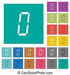 appartamento, sette, quadrato, colorato, icone, segmento, numero zero, digitale, multi, tipo