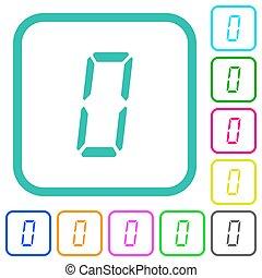 appartamento, sette, vivido, icone, segmento, numero zero, digitale, tipo, colorato