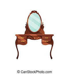 appartamento, shelves., classico, legno, specchio, vettore, disegno, bedroom., abbigliamento, ovale, credenza, tavola., mobilia