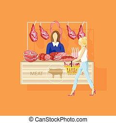 appartamento, shopping donna, carne, fattoria, vettore, prodotti, fresco, style.