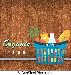 appartamento, shopping, vegetables., foods., illustrazione, vettore, frutte, cesto