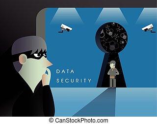 appartamento, sicurezza, concetto, disegno, dati