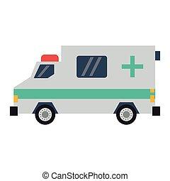 appartamento, sideview, ambulanza, veicolo emergenza
