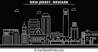 appartamento, silhouette, città, stati uniti, illustrazione, -, architettura, lineare, icone, landmarks., newark, americano, vettore, skyline., edifici., linea, bandiera, viaggiare, contorno