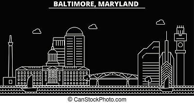 appartamento, silhouette, città, stati uniti, illustrazione, architettura, lineare, -, landmarks., americano, vettore, skyline., icona, edifici., linea, bandiera, viaggiare, baltimora, contorno