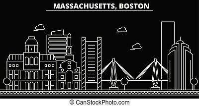 appartamento, silhouette, città, stati uniti, illustrazione, boston, architettura, lineare, -, landmarks., americano, vettore, skyline., icona, edifici., linea, bandiera, viaggiare, contorno