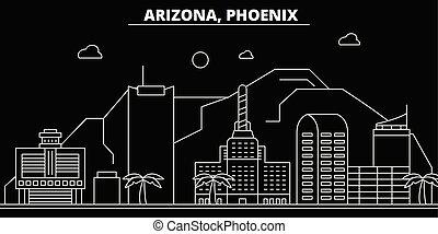 appartamento, silhouette, phoenix, stati uniti, illustrazione, -, architettura, lineare, icone, landmarks., americano, vettore, skyline., edifici., linea, bandiera, viaggiare, città, contorno