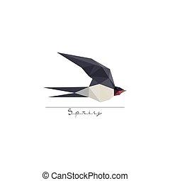appartamento, simbolo, moderno, disegno, origami, rondine, uccello