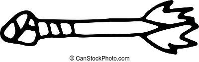 appartamento, sketch., isolated., scarabocchiare, bianco, simbolo., illustrazione, mano, decorazione, fondo., vettore, freccia nera, handdrawn, disegnato, icon., segno, cartone animato, element., design.