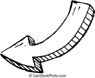 appartamento, sketch., isolated., scarabocchiare, simbolo., illustrazione, mano, decorazione, fondo., vettore, freccia nera, handdrawn, disegnato, icon., segno, bianco, element., design.