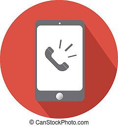 appartamento, smartphone, chiamata, icona, telefono