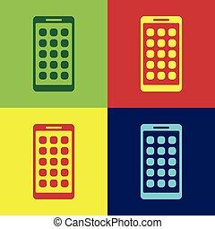 appartamento, smartphone, colorare, apps, schermo, icone, isolato, illustrazione, screen., telefono, vettore, applications., mobile, backgrounds., icona, esposizione, design.