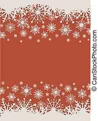 appartamento, snowflakes., vettore, disegno, fondo, natale, rosso
