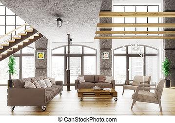 appartamento, soffitta, render, moderno, interno, 3d