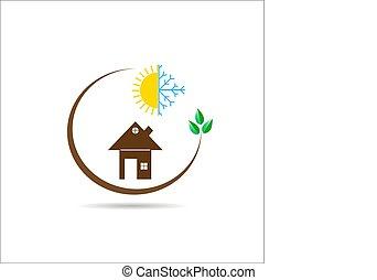 appartamento, sole, immagine, casa, fiocco di neve, verde, ramo, logotipo, foglie