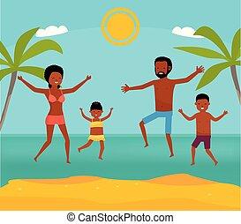 appartamento, spiaggia., illustration., famiglia, tour., africano, insieme, americano, vettore, mare, family., felice, cartone animato, saltare