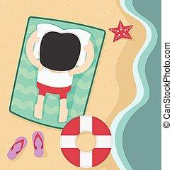 appartamento, spiaggia., rilassante, estate, disegno, uomo affari
