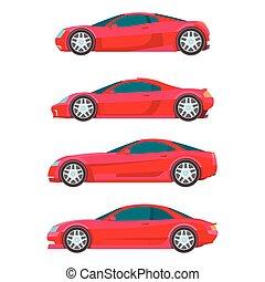 appartamento, sport, automobile, vettore, muscolo, rosso, icona