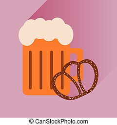 appartamento, spuntino, lungo, vetro, birra, uggia, icona