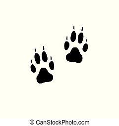 appartamento, stampe, cane, vettore, passi, lupo, piede, nero, o