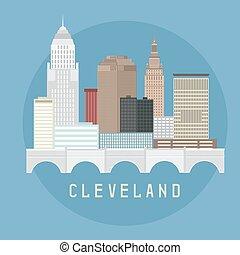 appartamento, stati uniti, illustrazione, orizzonte, vettore, disegno, cleveland, ohio