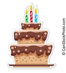 appartamento, sticker., candles., cioccolato, compleanno, vector., torta