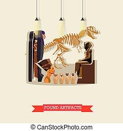 appartamento, stile, antico, egiziano, manufatti, ...