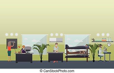 appartamento, stile, apparecchiatura, vettore, archeologico...