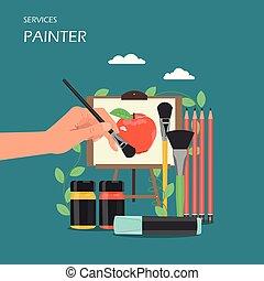 appartamento, stile, artista, illustrazione, vettore, disegno, servizi, pittore