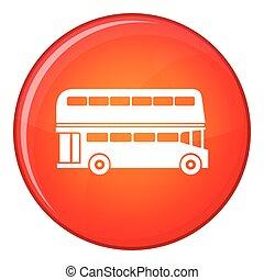 appartamento, stile, autobus, decker, doppio, icona