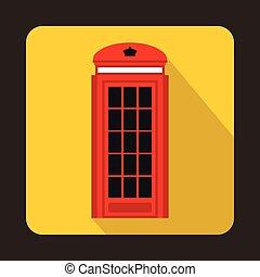 appartamento, stile, autobus, decker, londra, doppio, icona, rosso