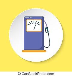 appartamento, stile, benzina, bottone, stazione servizio, rotondo, icona