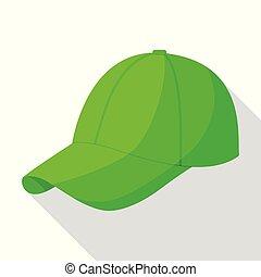 appartamento, stile, berretto, baseball, icona, verde