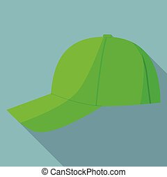 appartamento, stile, berretto, baseball, icona, verde, vista laterale