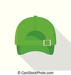 appartamento, stile, berretto, indietro, verde, icona, baseball