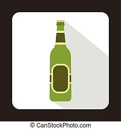 appartamento, stile, birra, verde, bottiglia, icona