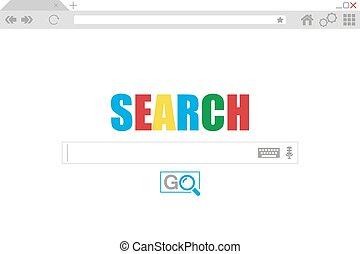 appartamento, stile, browser, finestra., ricerca, engine., vettore, illustrazione riserva