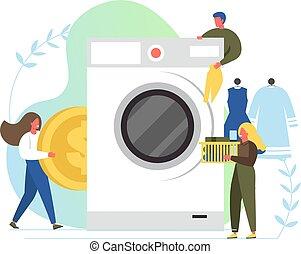 appartamento, stile, bucato, servizio, illustrazione, vettore, disegno